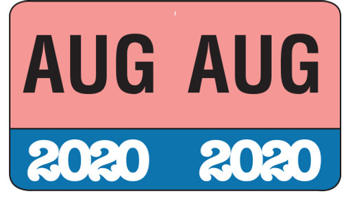 "Month/Year Labels 2020 - August - 225 Labels Per Pack - 1-1/2"" W x 1"" H"