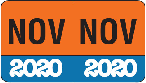 """Month/Year Labels 2020 - November - 225 Labels Per Pack - 1-1/2"""" W x 1"""" H"""