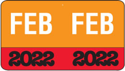 "Month/Year Labels 2022 - February - 225 Labels Per Pack - 1-1/2"" W x 1"" H"