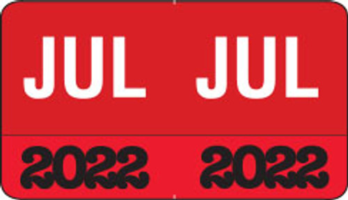 "Month/Year Labels 2022 - July - 225 Labels Per Pack - 1-1/2"" W x 1"" H"