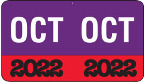 "Month/Year Labels 2022 - October - 225 Labels Per Pack - 1-1/2"" W x 1"" H"