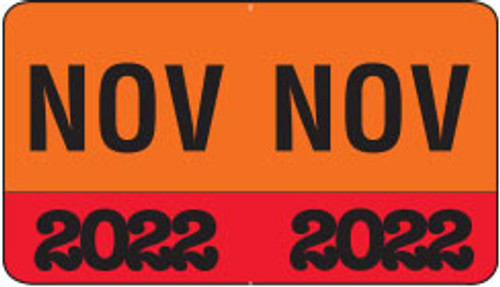 """Month/Year Labels 2022 - November - 225 Labels Per Pack - 1-1/2"""" W x 1"""" H"""
