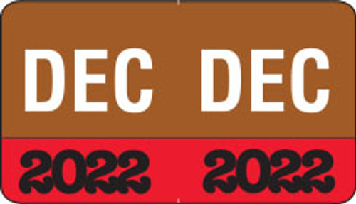 "Month/Year Labels 2022 - ""December"" - 225 Labels Per Pack - 1-1/2"" W x 1"" H"