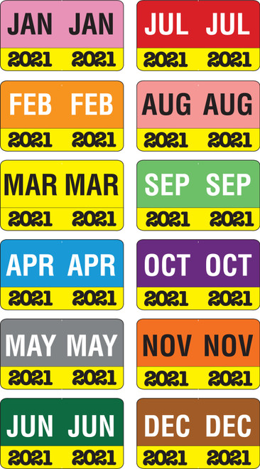 "Month/Year Labels 2021 - Complete Set Jan-December - 2,700 Labels - 1-1/2"" W x 1"" H"