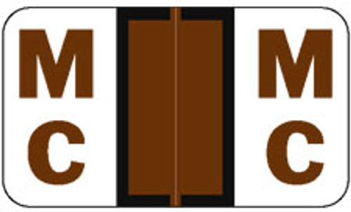 "JETER Alphabetic Label - 5100 Series - Letter ""MC""  - Brown - 225 Labels Per Pack"