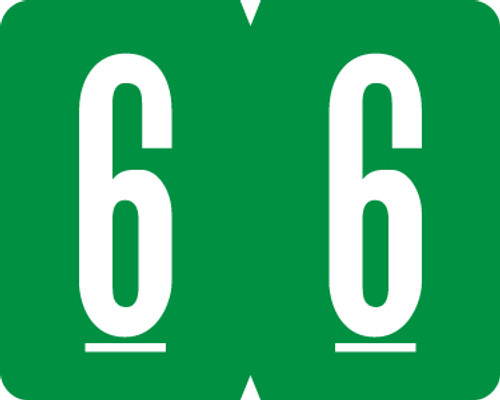 "GBS 1"" Numeric - VSNM Series - 1H X 1 1/4W - 500/Roll - Number 6 - Green"