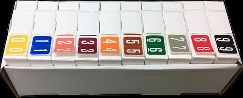 "GBS Numeric Label Set - VSNM Series - 1""H X 1 1/4""W - 500/Roll - Full Set 0 - 9"
