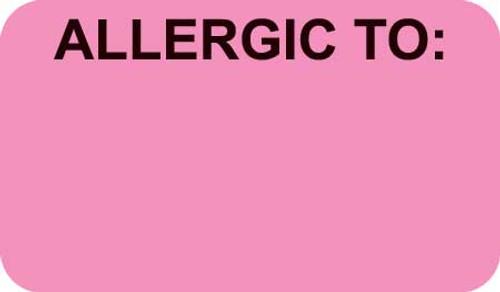 """""""ALLERGIC TO:""""- FL PINK/BK - 1-1/2 X 7/8  - 250/BX"""