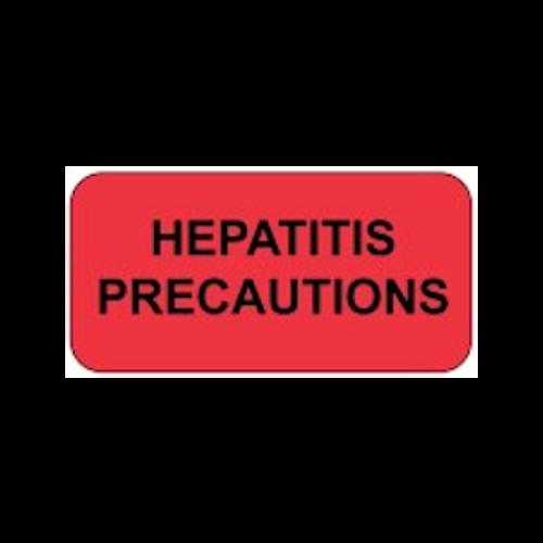 """HEPATITIS PREC."" - FL RED/BK - 1-1/2 X 7/8  - 250/BX"