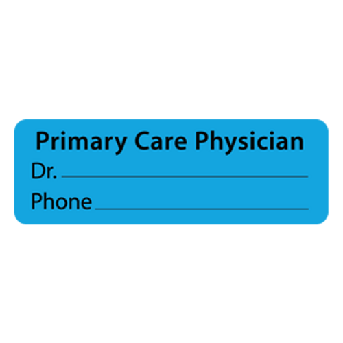"""PRIMARY CARE PHYSICIAN"" - BLUE - 3 X 1 - 500/BX"