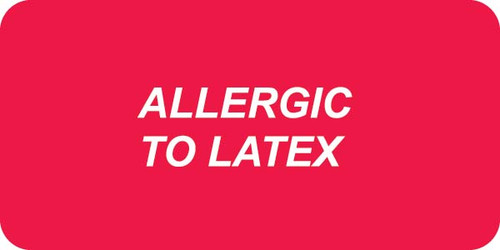 """ALLERGIC TO LATEX "" - RED/WHITE - 2 x 1 - 252/PK"