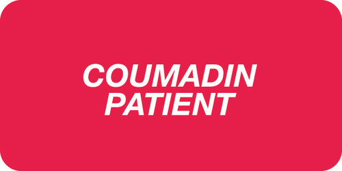 """COUMADIN PATIENT"" - RED/WHITE - 2 X 1 - 252/PK"
