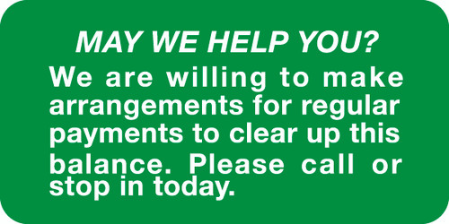 """""""MAY WE HELP YOU"""" - GREEN/WHITE - 2 X 1 - 252/PK"""