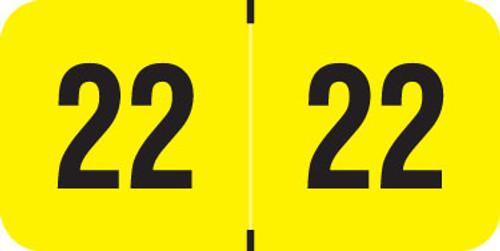"""PMA Fluorescent Yearband Label (Rolls of 500) - 2022 - Fl. Yellow - FYYM Series - Laminated -3/4"""" H x 1-1/2"""" W"""