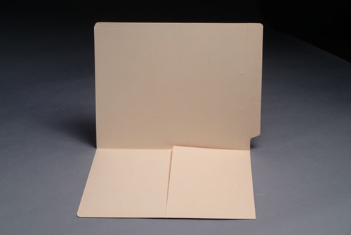 14 Pt. Manila End Tab Folder with Half Pocket Inside Front - Letter Size - Full Cut End Tab - 50/Box
