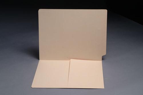 14 Pt. Manila End Tab Folder with Half Pocket Inside Front - Letter Size - Full Cut End Tab - 50/Box