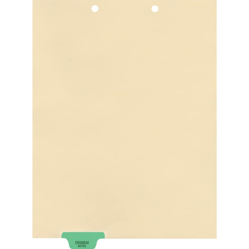 """Progess Notes"" Bottom Tab Chart Dividers- Progress Notes, Tab Position 2- Green (100/Pkg) (S-09554)"
