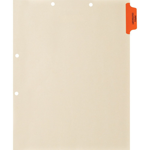 "Medical Arts Press Match Colored Side Tab Chart Dividers- ""Paps & Colonoscopy"" -  Tab Position 1- Orange (100/Pkg)"