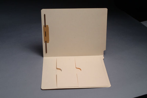 End Tab Folder with Double Pockets - 14 Pt. Manila - 2 Ply Tab - Fastener in Position 1 - Letter Size - Box of 50