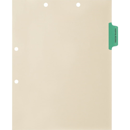 "Medical Arts Press Match Colored Side Tab Chart Dividers- ""Hospital Records"" - Light Green Tab in Position 2 - 100/Pack"