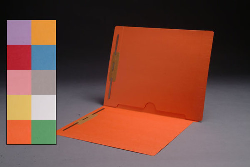 End Tab Folder with Full Back Pocket and Fasteners in Positions 1 & 3 - GREEN - Letter Size - 11 Pt. Colored Stock -  50/Box