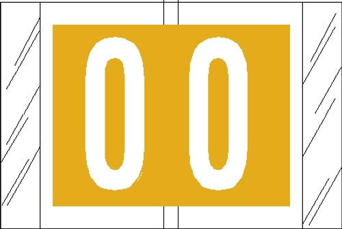 """Tabbies 11000 - ORIGINAL COL'R'TAB® NUMERIC 11000 SERIES, 1"""" NUMERIC TAB '#0', YELLOW, 1""""H x 1-1/2""""W, 500/ROLL"""