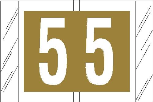 "Tabbies 11005 - ORIGINAL COL'R'TAB® NUMERIC 11000 SERIES, 1"" NUMERIC TAB '#5', GOLD, 1""H x 1-1/2""W, 500/ROLL"