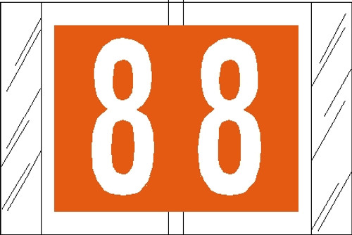 "Tabbies 11008 - ORIGINAL COL'R'TAB® NUMERIC 11000 SERIES, 1"" NUMERIC TAB '#8', ORANGE, 1""H x 1-1/2""W, 500/ROLL"