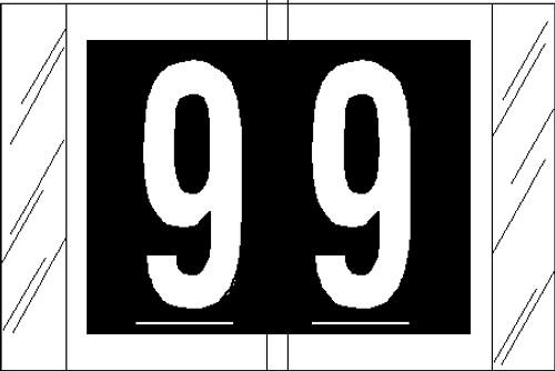 """Tabbies 11009 - ORIGINAL COL'R'TAB® NUMERIC 11000 SERIES, 1"""" NUMERIC TAB '#9', BLACK, 1""""H x 1-1/2""""W, 500/ROLL"""