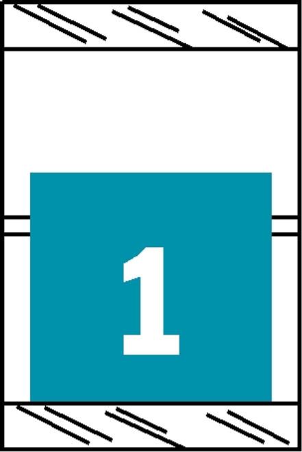 "Tabbies 11051 - ORIGINAL COL'R'TAB® NUMERIC 11050 SERIES, 1"" HORIZONTAL NUMERIC TABS '#1', LIGHT BLUE, 1-1/2""H x 1""W, 500/ROLL"