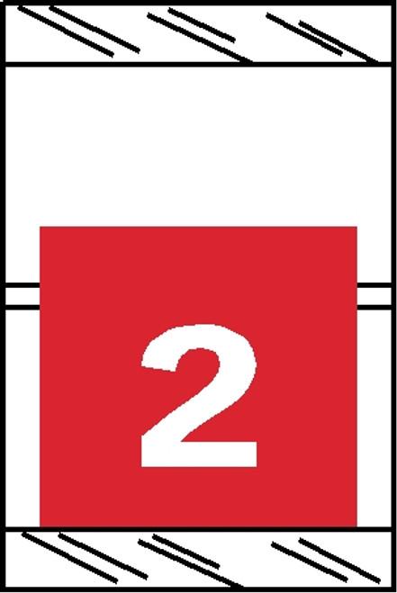 "Tabbies 11052 - ORIGINAL COL'R'TAB® NUMERIC 11050 SERIES, 1"" HORIZONTAL NUMERIC TABS '#2', RED, 1-1/2""H x 1""W, 500/ROLL"