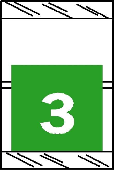 "Tabbies 11053 - ORIGINAL COL'R'TAB® NUMERIC 11050 SERIES, 1"" HORIZONTAL NUMERIC TABS '#3', LIGHT GREEN, 1-1/2""H x 1""W, 500/ROLL"