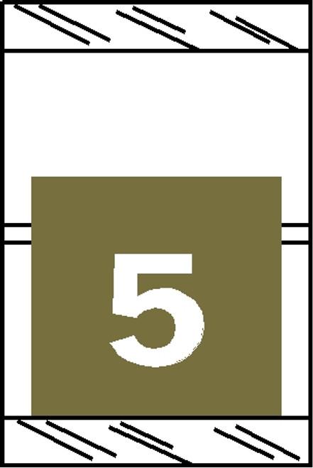 "Tabbies 11055 - ORIGINAL COL'R'TAB® NUMERIC 11050 SERIES, 1"" HORIZONTAL NUMERIC TABS '#5', GOLD, 1-1/2""H x 1""W, 500/ROLL"