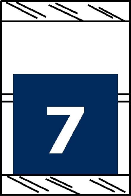 "Tabbies 11057 - ORIGINAL COL'R'TAB® NUMERIC 11050 SERIES, 1"" HORIZONTAL NUMERIC TABS '#7', BLUE, 1-1/2""H x 1""W, 500/ROLL"