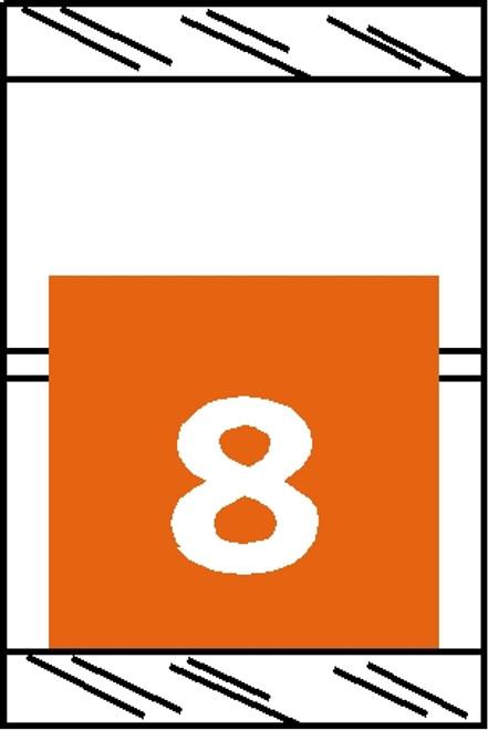 "Tabbies 11058 - ORIGINAL COL'R'TAB® NUMERIC 11050 SERIES, 1"" HORIZONTAL NUMERIC TABS '#8', ORANGE, 1-1/2""H x 1""W, 500/ROLL"