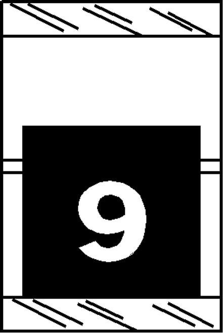 "Tabbies 11059 - ORIGINAL COL'R'TAB® NUMERIC 11050 SERIES, 1"" HORIZONTAL NUMERIC TABS '#9', BLACK, 1-1/2""H x 1""W, 500/ROLL"