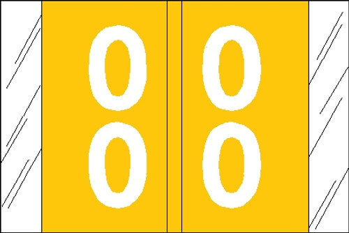 "Tabbies 11190 - ORIGINAL COL'R'TAB® DOUBLE DIGIT NUMERIC 11190 SERIES, 1"" DOUBLE-DIGIT NUMERIC TABS '00-09', YELLOW, 1""H x 1-1/2""W, 500/ROLL"