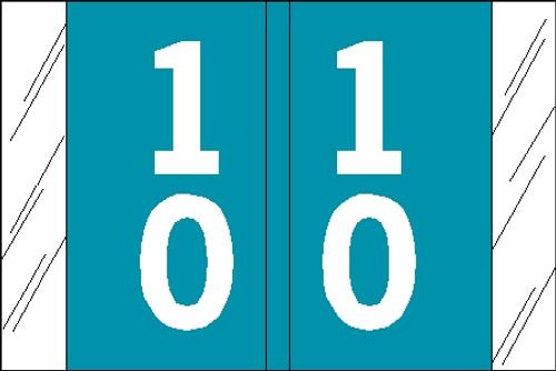 "Tabbies 11191 - ORIGINAL COL'R'TAB® DOUBLE DIGIT NUMERIC 11190 SERIES, 1"" DOUBLE-DIGIT NUMERIC TABS '10-19', LIGHT BLUE, 1""H x 1-1/2""W, 500/ROLL"