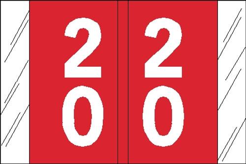 "Tabbies 11192 - ORIGINAL COL'R'TAB® DOUBLE DIGIT NUMERIC 11190 SERIES, 1"" DOUBLE-DIGIT NUMERIC TABS '20-29', RED, 1""H x 1-1/2""W, 500/ROLL"