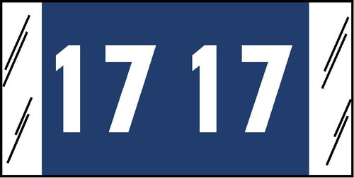 "Tabbies 11717 - ORIGINAL COL'R'TAB® YEARCODE 11700 LABEL SERIES, 3/4"" YEARCODE LABELS '17', BLUE, 3/4""H x 1-1/2""W, 1,000/ROLL"