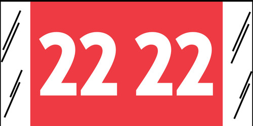 "Tabbies 11722 - ORIGINAL COL'R'TAB® YEARCODE 11700 LABEL SERIES, 3/4"" YEARCODE LABELS '22', RED, 3/4""H x 1-1/2""W, 1,000/ROLL"