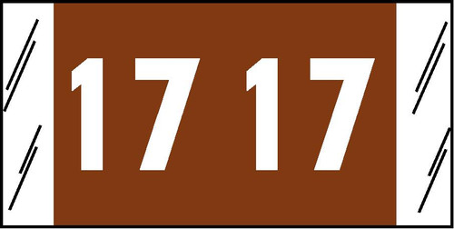 """Tabbies 12617 - ACME VISIBLE COMPATIBLE YEARCODE 12600 SERIES, 3/4"""" YEARCODE LABEL '17' BROWN, 3/4""""H x 1-1/2""""W, 1,000/ROLL"""