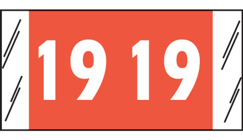"""Tabbies 12619 - ACME VISIBLE COMPATIBLE YEARCODE 12600 SERIES, 3/4"""" YEARCODE LABEL '19' ORANGE, 3/4""""H x 1-1/2""""W, 1,000/ROLL"""