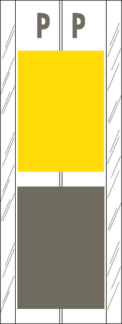 "Tabbies 12717 - ACME VISIBLE COMPATIBLE ALPHA 12700 LABEL SERIES, 4"" 2-COLOR ALPHA TABS 'P', YELLOW/GRAY, 4""H x 1-1/2""W, 102/PACK"