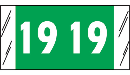 """Tabbies 12919 - SFI COMPATIBLE YEARCODE 12900 LABEL SERIES, 3/4"""" YEARCODE LABELS '19', GREEN, 3/4""""H x 1-1/2""""W, 1,000/ROLL"""