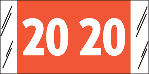 """Tabbies 12920 - SFI COMPATIBLE YEARCODE 12900 LABEL SERIES, 3/4"""" YEARCODE LABELS '20', ORANGE, 3/4""""H x 1-1/2""""W, 1,000/ROLL"""