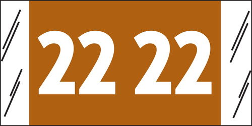 """Tabbies 12922 - SFI COMPATIBLE YEARCODE 12900 LABEL SERIES, 3/4"""" YEARCODE LABELS '22', BROWN, 3/4""""H x 1-1/2""""W, 1,000/ROLL"""