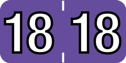 """Tabbies 14418 - COLWELL COMPATIBLE YEARCODE 14400 LABEL SERIES, 3/4"""" YEARCODE LABEL '18', PURPLE, 3/4""""H x 1-1/2""""W, 500/ROLL"""
