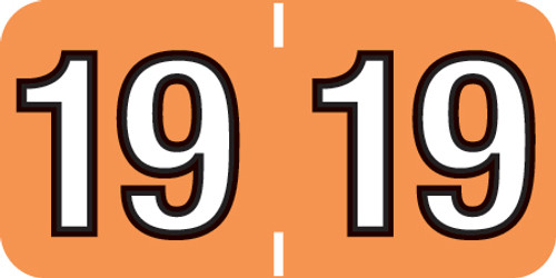 """Tabbies 14419 - COLWELL COMPATIBLE YEARCODE 14400 LABEL SERIES, 3/4"""" YEARCODE LABEL '19', LIGHT ORANGE, 3/4""""H x 1-1/2""""W, 500/ROLL"""