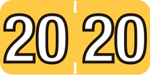 """Tabbies 14420 - COLWELL COMPATIBLE YEARCODE 14400 LABEL SERIES, 3/4"""" YEARCODE LABEL '20', YELLOW, 3/4""""H x 1-1/2""""W, 500/ROLL"""